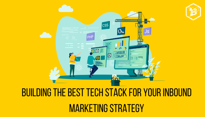 Title Image graphic of two developers building a tech stack for inbound marketing strategy
