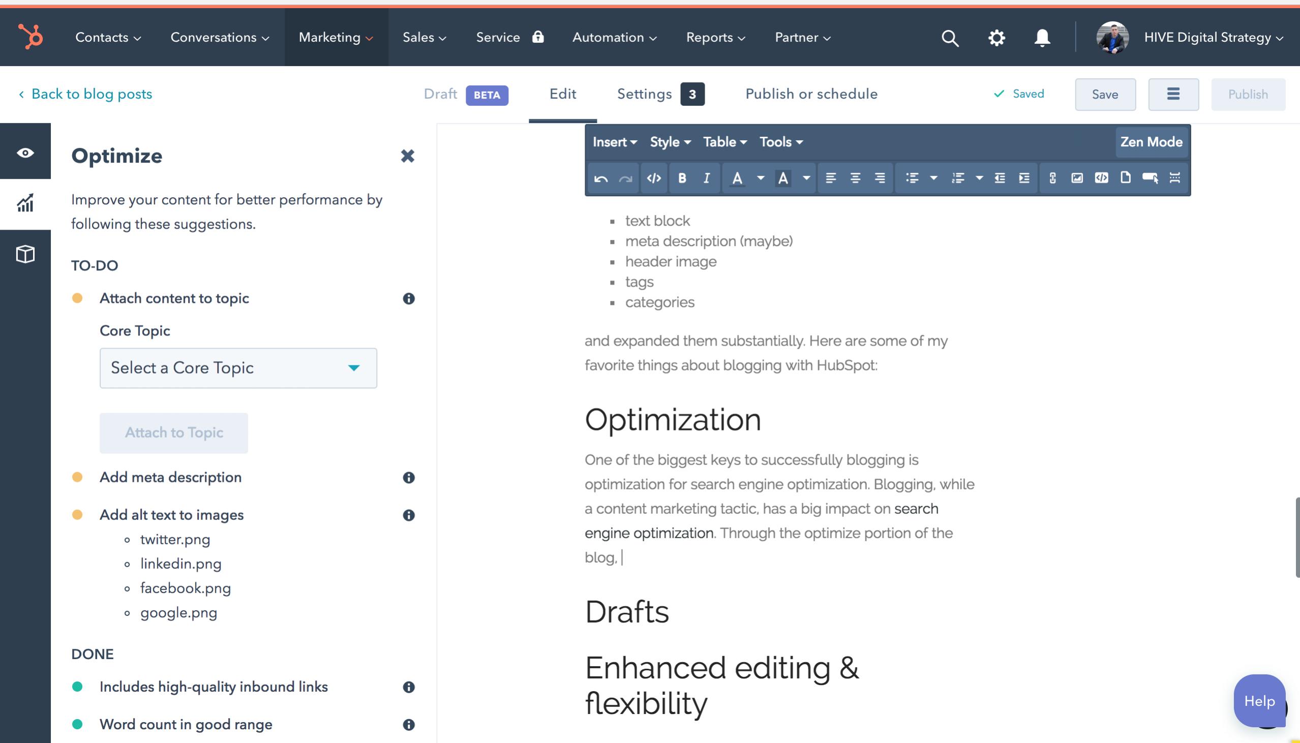 HubSpot Blog Optimization