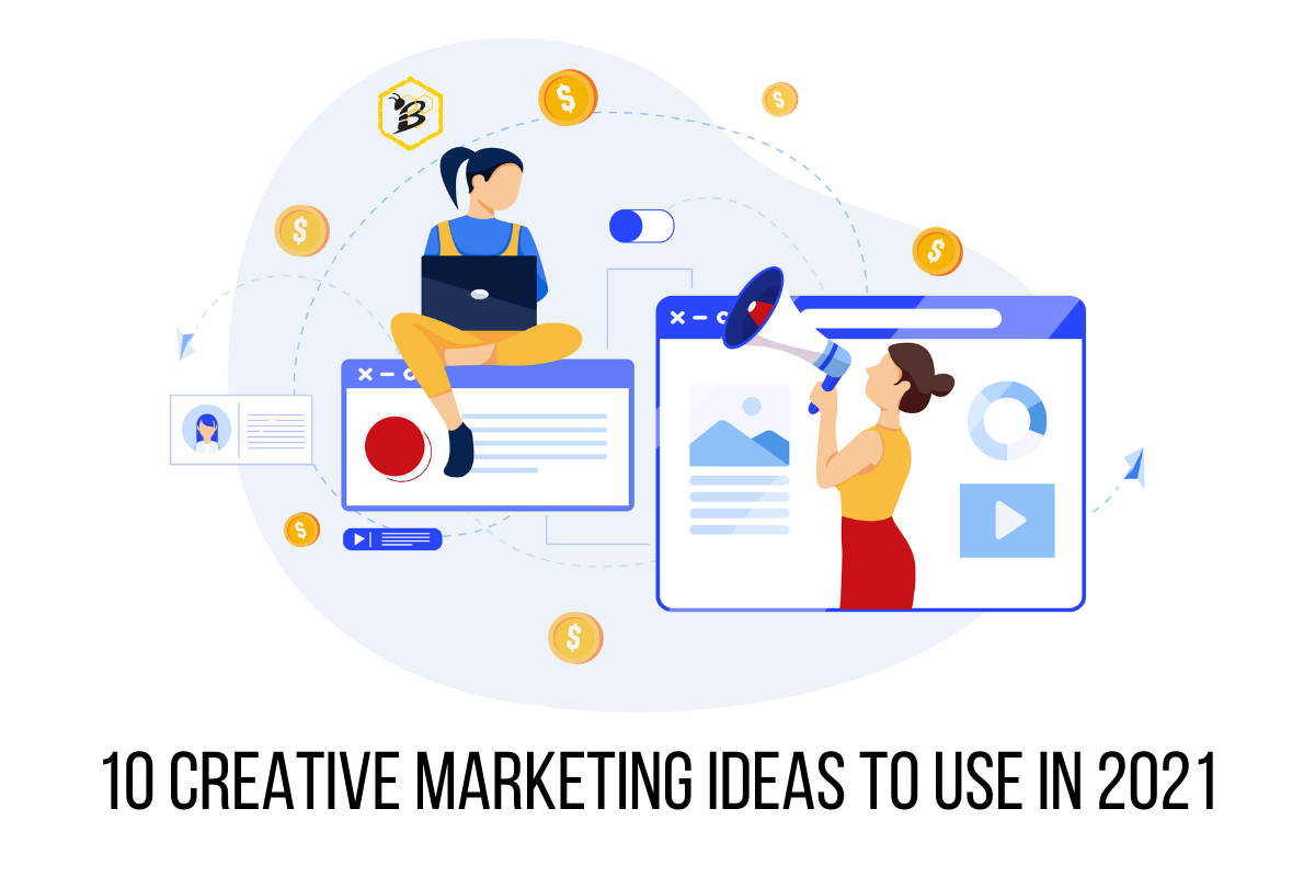 Illustration of two women using creative marketing ideas to boost revenue and lead attention