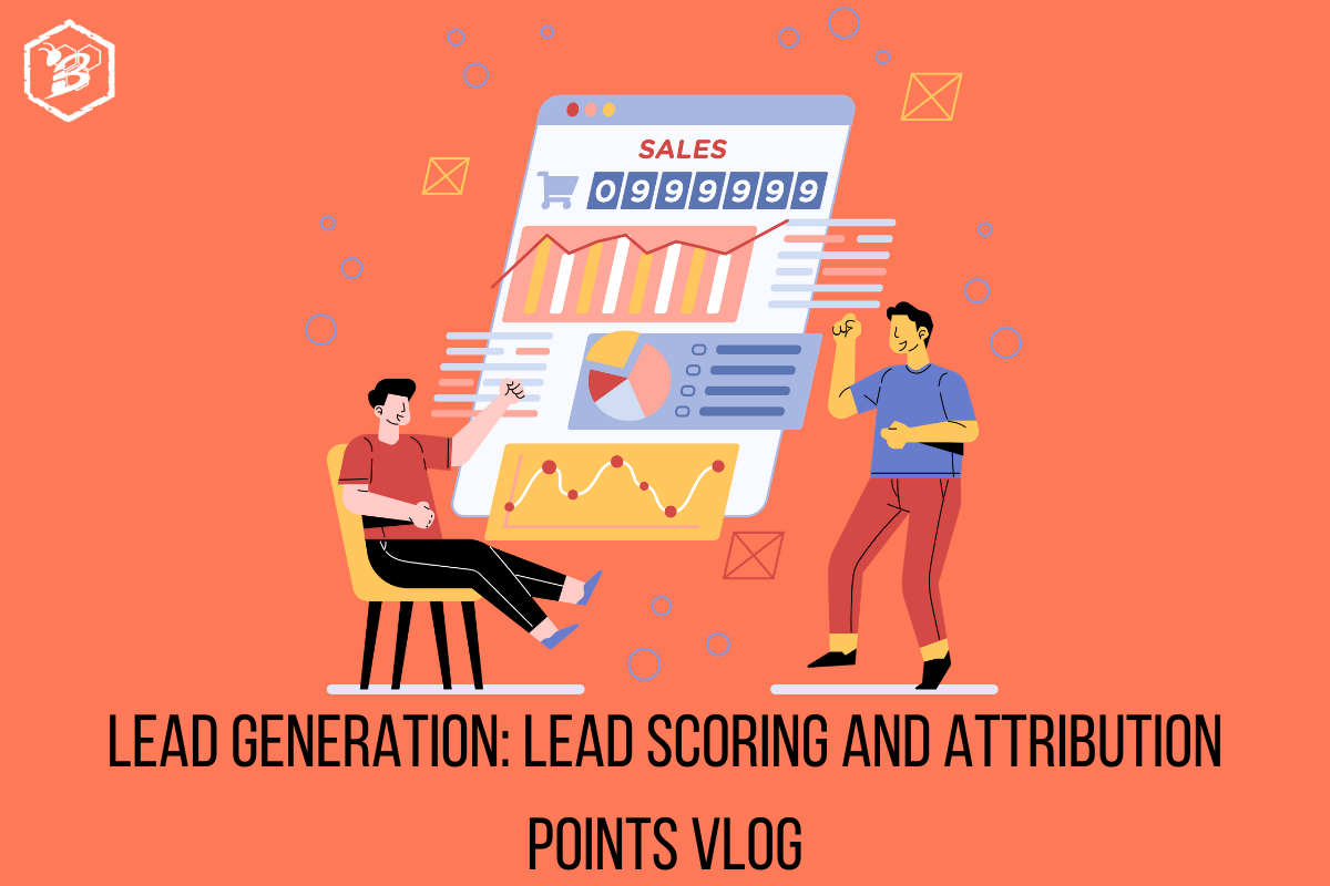 Illustration of two people building a dashboard for lead generation and lead scoring