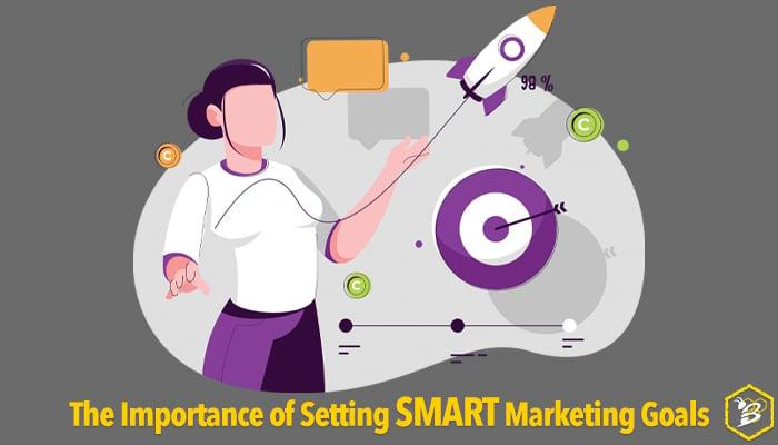 Graphic of woman setting SMART marketing goals