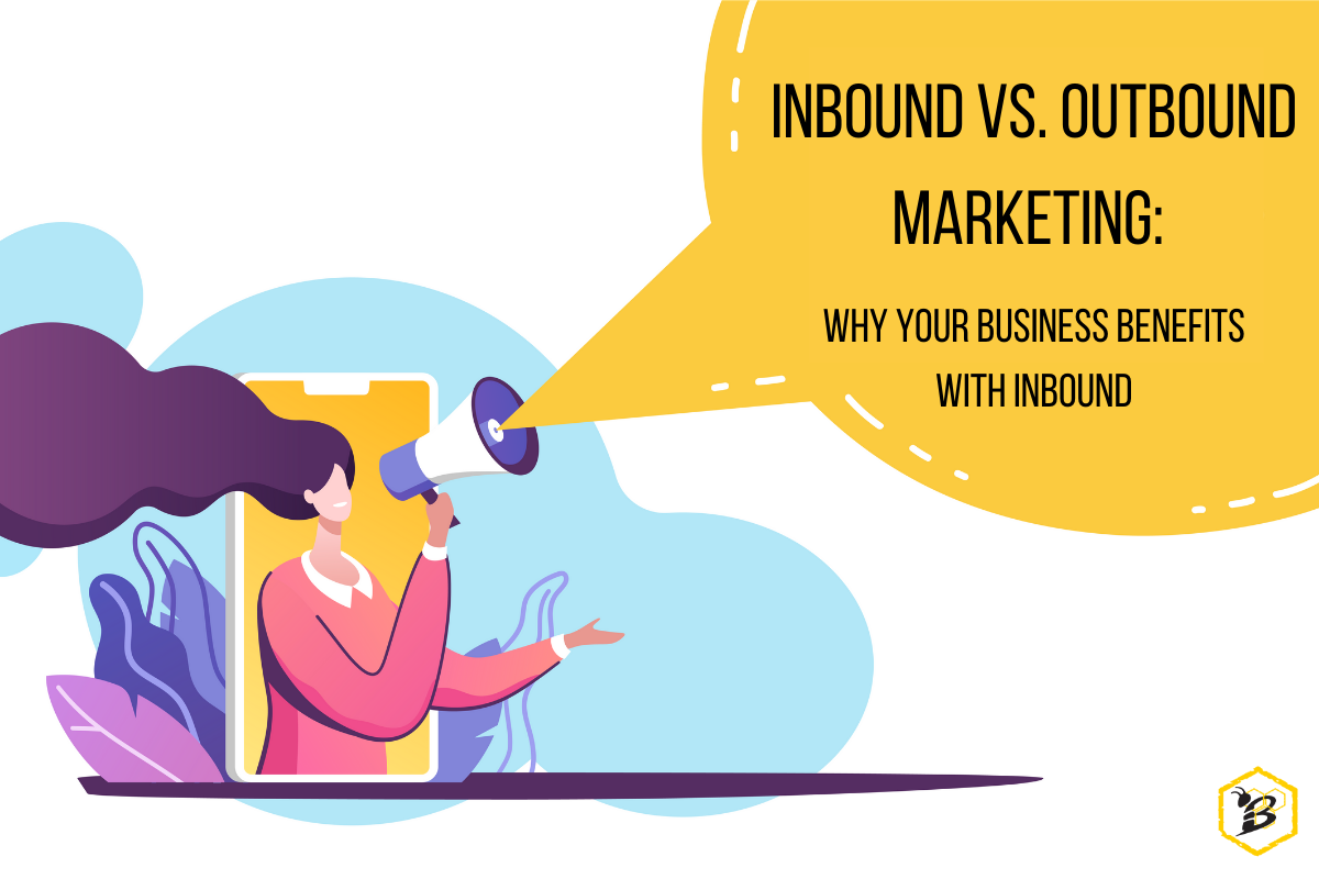 Graphic of a woman using a megaphone to talk about outbound vs inbound marketing
