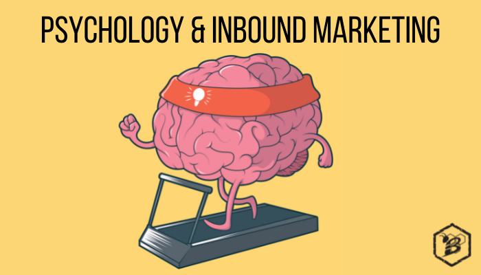 Title image featuring a graphic of a brain running on a treadmill and title Psychology & Inbound Marketing